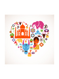 Heart With India Icons