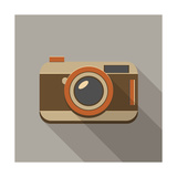 Flat Long Shadow Retro Camera Icon