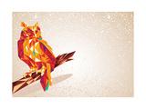 Colorful Owl Bird Illustration Reproduction d'art par Cienpies