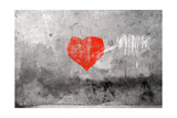 Red Heart Graffiti Over Grunge Cement Wall Reproduction d'art par Billyfoto