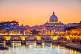 Night View At St Peter'S Cathedral In Rome  Italy