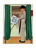 """Undecided""  November 4  1944  Man in voting booth w/newspaper"