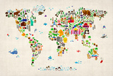 Animal Map of the World Reproduction d'art par Michael Tompsett