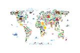 Animal Map of the World Giclée premium par Michael Tompsett