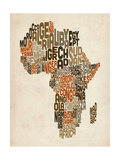 Typography Text Map of Africa Reproduction d'art par Michael Tompsett