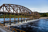 Dam on the Mohawk River in the Erie Canal System  New York  USA