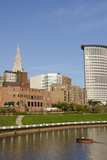 Cuyahoga River Skyline View of Downtown Cleveland  Ohio  USA