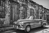 Classic 1953 Chevy Against Worn Stone Wall  Cojimar  Havana  Cuba