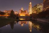 Gene Leahy Mall Skyline at Dawn  Omaha  Nebraska  USA