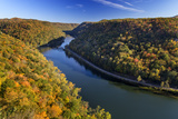 The New River Gorge  Hawks Nest State Park  Autumn  West Virginia  USA