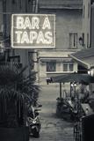 Neon Sign for Tapas Bar  Dusk  Ile Rousse  La Balagne  Corsica  France