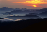 Sunset over the Great Smoky Mountains National Park  Tennessee  USA