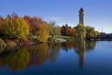 Clock Tower  Spokane River  Riverfront Park  Spokane  Washington  USA