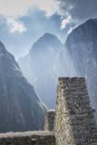 Machu Picchu Stone Walls with Mountains Beyond  Peru