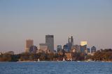City Skyline from Lake Calhoun  Sunset  Minneapolis  Minnesota  USA
