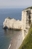 Elevated View of Town Beach  Etretat  Normandy  France