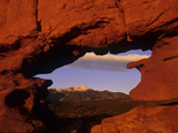 Pike's Peak Framed Through a Rock Window  Colorado  USA