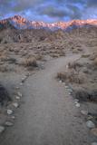 Sunrise on Lone Pine Peak and Mt Whitney  California  USA