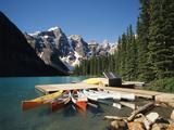 Canoe Moored at Dock on Moraine Lake  Banff NP  Alberta  Canada
