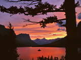 St Mary Lake at Sunset  Glacier National Park  Montana  USA
