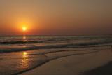 Sunset across Quiet Surf  Crescent Beach  Sarasota  Florida  USA