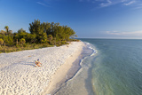 White Sand Beach at Sunset on Sanibel Island  Florida  USA