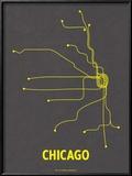 Chicago (Dark Gray & Yellow) Reproduction encadrée par Line Posters