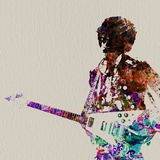 Hendrix avec guitare, aquarelle Reproduction d'art par NaxArt