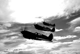 A Group of P-40 Warhawks Fly in Formation Near Nampa  Idaho