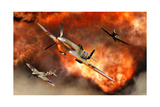 British Supermarine Spitfires Bursting Through Explosive Flames