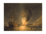Vintage Print Featuring the Explosion of the US Steam Frigate Missouri  at Gibraltar