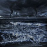 Tornados in a Rough Sea Against Stormy Clouds  Crete  Greece