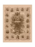 Civil War Print of General Robert E Lee and Prominent Confederate Generals