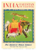 India and Pakistan by Clipper - Pan American World Airways Reproduction d'art