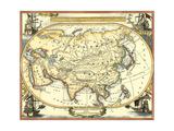 Nautical Map of Asia Reproduction d'art par Vision Studio