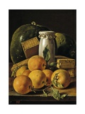 Still Life of Oranges  Watermelon  a Pot  and Boxes of Cake  Ca 1760