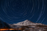 Star Trails Circling Polaris Above Mount Damavand  a Live Volcano  in Iran