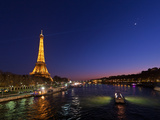 The Moon Meets with Planets Venus and Jupiter over the Eiffel Tower and the Seine River