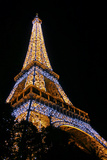 Low Angle View of the Eiffel Tower Lit Up at Night