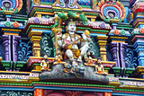 An Intricate Colorful Statue of Shiva at a Hindu Temple