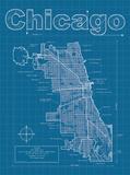 Chicago Artistic Blueprint Map Reproduction d'art par Christopher Estes