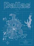Dallas Artistic Blueprint Map