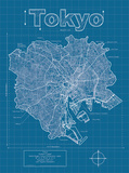 Tokyo Artistic Blueprint Map Reproduction d'art par Christopher Estes