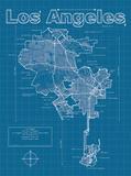Los Angeles Artistic Blueprint Map Reproduction d'art par Christopher Estes