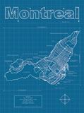 Montreal Artistic Blueprint Map Reproduction d'art par Christopher Estes