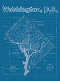 Washington DC Artistic Blueprint Map
