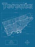 Toronto Artistic Blueprint Map Reproduction d'art par Christopher Estes