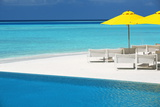 Infinity Pool and Lounge Chairs  Maldives  Indian Ocean  Asia