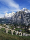 Mt Eiger  Mt Jungfrau and Mt Monch  Murren  Bernese Oberland  Switzerland