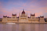 Hungarian Parliament Building and the River Danube at Sunset  Budapest  Hungary  Europe